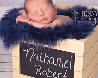 Dark Blue Faux Fur Photo Prop, Long Faux Fur, Navy Blue Faux Fur, Newborn Photo PRop. Baby Photo Prop, Ready to Ship.