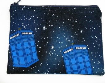 Dr. Who Zippered Pouch, Tardis, Time Travel, Small Cosmetics Pouch, Change Purse. For Doctor Who Fans.