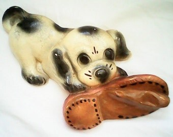 QUIRKY CHALKWARE PUP  Savoring  Shoe Numbered   Vintage