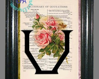 Vintage Dictionary Page Art Print Letter U with Antique Pink Rose Bouquet, Green Leaves Beautifully Upcycled Book Art Print