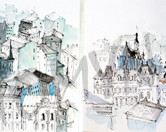 PARIS VIEW. Rooftops Paris. Architecture  Paris. Eiffel Tower. Parisian Rooftops.Drawing Wall Art Paris.Two  original  watercolor painting.