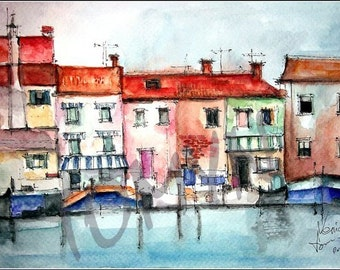 Original watercolor painting. The waters of Venice.  Italy. Architecture of the coastal zone. Size 15.2 * 22.9 cm.
