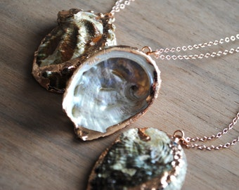 Rose Gold Abalone Necklace. Rose Gold Shell Necklace. Rose Gold Plated Necklace. Rose Gold Filled Chain. Green Abalone. Mermaid Necklace.