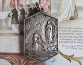 Antique Our Lady of Lourdes Religious Medal ~ Large French Vintage Silver Christian Souvenir ~ Virgin Mary ~ The Immaculate Conception A17