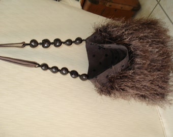 Brown Purse, knitted with haute fur yarn