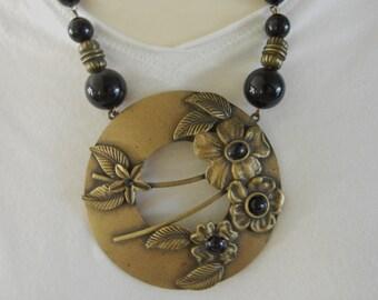 Vintage Brass Etruscan Necklace, Vintage Brass Etruscan Pendant, Vintage Brass Etruscan, Vintage Brass Etruscan, Brass Etruscan Pendant