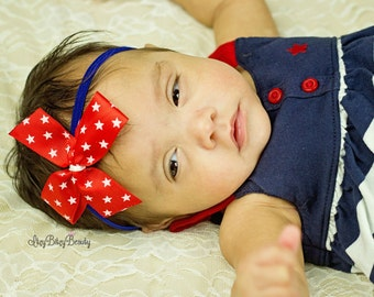 Red white blue stars 4th Fourth of July baby girls headband