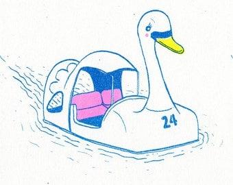 Kichijōji Swan Boat risograph art print
