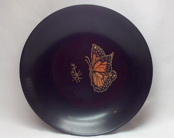 Vintage Couroc Giftware Monarch Butterfly Black Plastic with Inlay Wood Image Bowl Monterey California USA