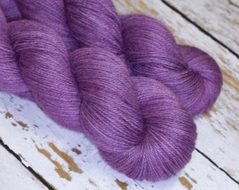 Lux Hand Dyed Filolious Fingering Sock Yarn Alpaca/Silk/Cashmere in Mulberry Lilac