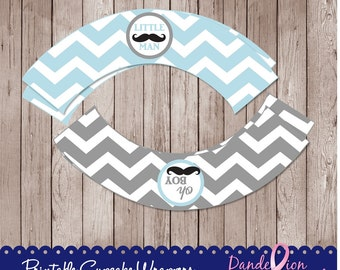 Baby Blue Gray Mustache Little Man Baby Boy Shower Digital Printable Cupcake Wrappers DIY