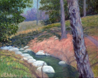 """8x10"""" Creek at Duke Gardens, Impressionistic oil painting"""
