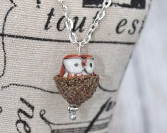 Acorn Jewelry - Silver Necklace - Owl