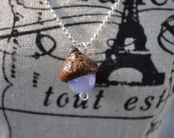 Acorn Jewelry - Necklace - Purple - Silver