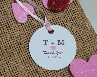 Personalized  Love Favor Tags 2'', Wedding tags, Thank You tags, Favor tags, Gift tags, Bridal Shower Favor Tags,