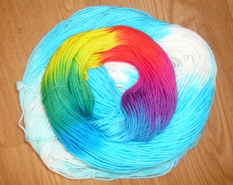 Summer Skies Rainbow, 50g hand-dyed merino wool nylon blend sock yarn
