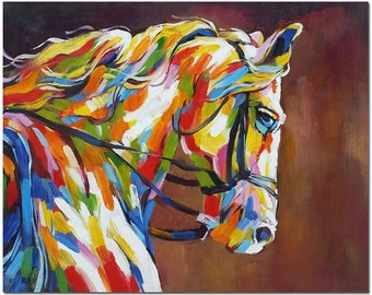 Signed Hand Painted Impressionist HorsePainting On Canvas -  Modern Multi-colored Fine Art  ARTIST CERTIFICATE INCLUDED