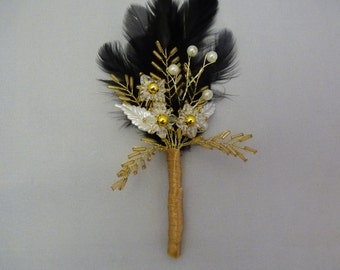 Gold and ivory boutonniere with black feathers - Grooms boutonniere - wedding boutonniere - beaded boutonniere - buttonhole - corsage