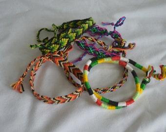 lot of five macrame bracelets