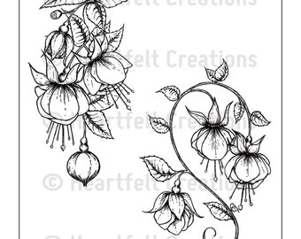 Heartfelt Creations Cling Rubber Stamp Set ~ Fuchsia Clusters, HCPC3671 ~