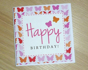 Girls Happy Birthday card with butterflies - CUTE handmade greeting card - Pink or purple
