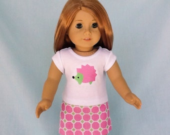 Pink Hedgehog T-Shirt and Skirt for American Girl/18 Inch Doll