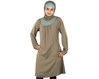 MyBatua Women's Islamic Trendy Khaki Rayon Tunic | Casual & Party Wear Ladies tops | Modest Blouse Online KRF-102