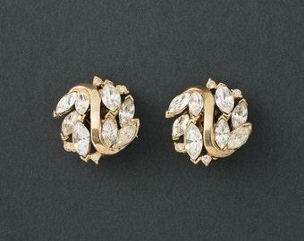 Vintage Trifari Rhinestone Earrings     1940s Pat Pending