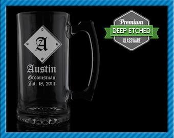 Groomsmen Gift, Personalized Mugs, Diamond Metal Groomsmen Beer Mugs, Personalized Monogram 26.5 oz Etched Mugs