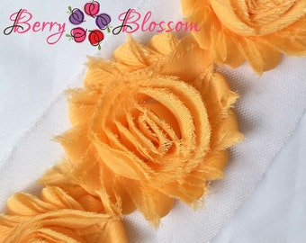 "2.5"" Apricot shabby flower trim - frayed chiffon - rose flowers by the yard - light orange - JT apricot"