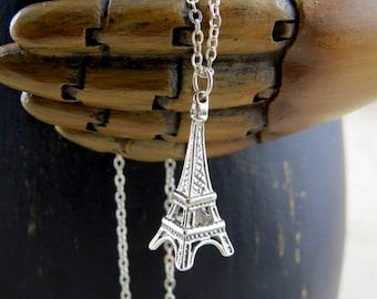 Sterling silver Eiffel Tower necklace, Eiffel tower necklace, Eiffel tower pendant, Paris necklace, travel necklace, eiffel tower charm