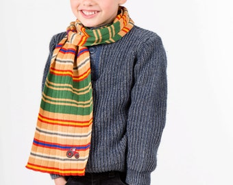 Boys Striped Scarf with Tractor Motifs 325