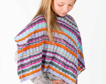 Girls Poncho, Striped Poncho, Lace Poncho, Butterfly Poncho, Spring Poncho, Kids Accessories, Children's Poncho, Gift Idea, 346
