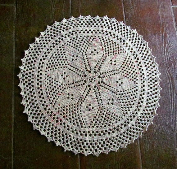 Crocheted Doily Rug Pattern Star Center 36 Rug 100%