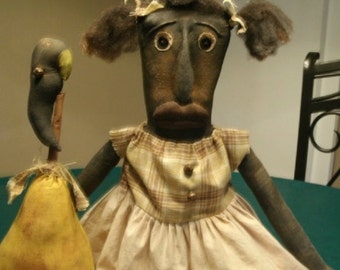 Primitive Folk Art Doll with Pear and Crow