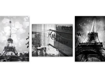 Paris Black and White Print Set of 3, for any wall, Paris Photography.