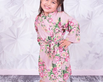 Flower Girl  Junior Bridesmaids robes Kimono Crossover Perfect bridesmaids gift getting ready robes Bridal shower party favors Embroidery