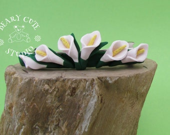 Calla Lilly Barrette, Lilly clip, wedding hair Lilly