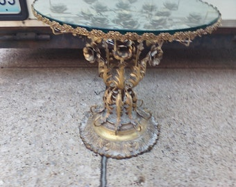 Beautiful brass & glass side table with roses