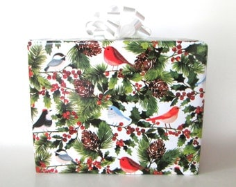 Birds of Winter Christmas Wrapping Paper, Holiday Gift Wrap 10 ft x 2 ft. / 3.048 m. x .60 m. Roll,