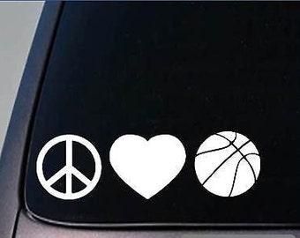"Peace Love Basketball Sticker *H85* 8"" Vinyl March Madness"