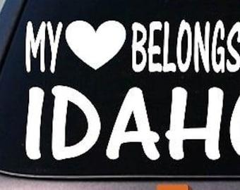 My Heart Belongs To Idaho Sticker Decal *E007*