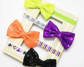 Halloween Bow - Baby Halloween Bow - orange, green, black, purple. Fall Baby Bow, Halloween Baby Bow, Halloween Headband, Baby Photo Prop