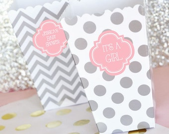 24 - Its a Girl Baby Shower Popcorn 'n Treats Boxes, Chevron Polka Dot Stripes Treat Boxes, Pink and Gray Pink  (EB4008P)