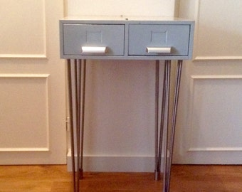 HighBox Highlegs. Striking Cabinet, vintage drawers on stainless steel legs. Industrial recycle.