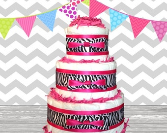3 Tier Diaper Cake - Baby Shower Gift - Baby Shower Centerpiece - Fuchsia Hot Pink Zebra Them Chic Bow Style