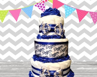 3 Tier Diaper Cake - Baby Shower Gift - Baby Shower Centerpiece - LA Dodgers Navy Blue and White Theme