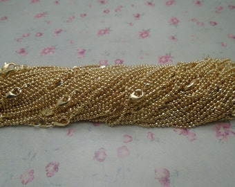 30pcs--1.5mm diameter--20 inches rose gold color metal ball chain necklace with lobster clasp--MN3215-30