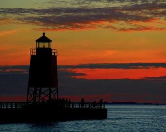 Lighthouse at Sunset, Charlevoix, Michigan, Lake Michigan, Great Lakes Fine Art Photography