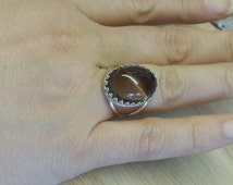 Sterling silver Brown Smoky Quartz ring. Crystal Reiki jewelry. Adjustable ring uk. 18x13mm stone